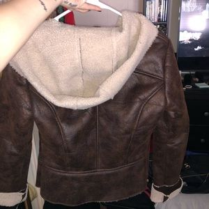 Womans brown and tan fur burlap coat w/ hood